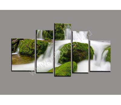"Пятимодульная картина ""Водопад среди зелени"", фото 1"