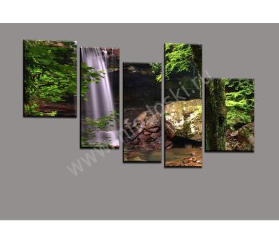 """Пятимодульная картина """"Лесной водопад"""", фото 1"""