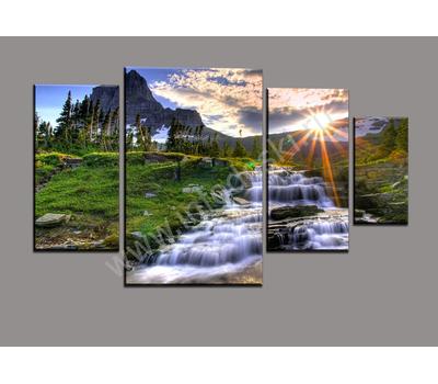 """Четырехмодульная картина """"Горный водопад на рассвете"""", фото 1"""