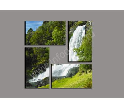 """Четырехмодульная картина """"Лесной водопад"""", фото 1"""