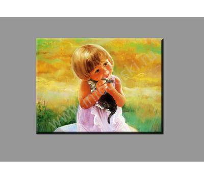 """Картина на подрамнике """"Девочка с котенком"""", фото 1"""