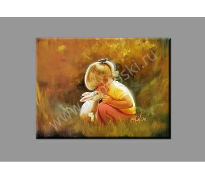 """Картина на подрамнике """"Девочка с зайчиком"""", фото 1"""