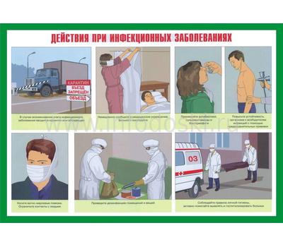 Стенд ДЕЙСТВИЯ ПРИ ИНФЕКЦИОННЫХ ЗАБОЛЕВАНИЯХ, фото 1