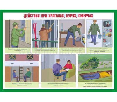 Стенд ДЕЙСТВИЯ ПРИ УРАГАНАХ, фото 1