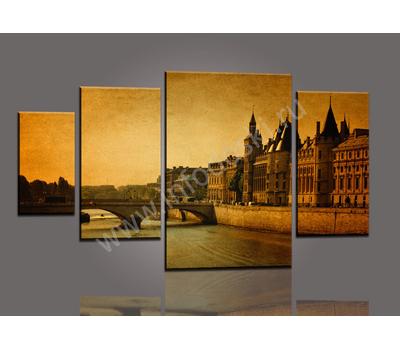 """Четырехмодульная картина """"Река в городе"""", фото 1"""