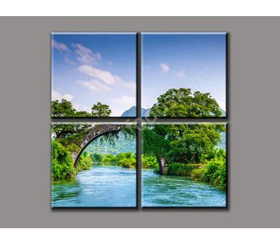 """Четырехмодульная картина """"Течение реки"""", фото 1"""