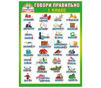 Плакат А2 ГОВОРИ ПРАВИЛЬНО. 1 КЛАСС (УДАРЕНИЯ) 070.398, фото 1